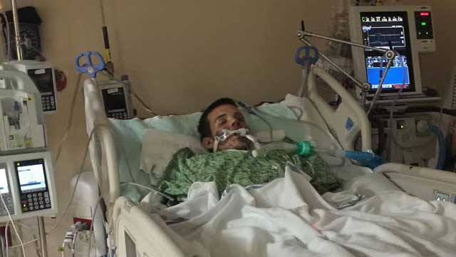 A photo of Evan Spahlinger in the hospital