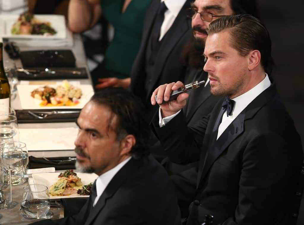 Leonardo DiCaprio with his box mod at the SAG Awards.