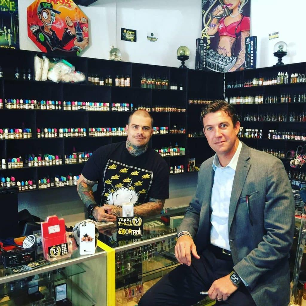 The Vaping Congressman himself hanging out at The Vapor Trail.
