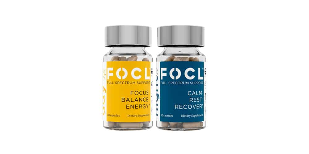 two bottles of FOCL CBD capsules