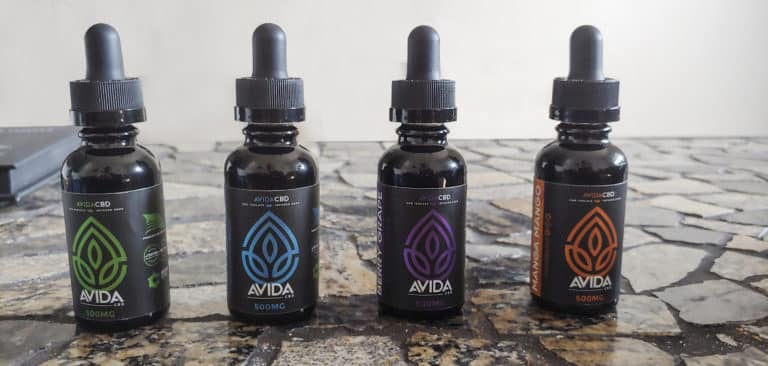 Avida CBD vape juice bottles