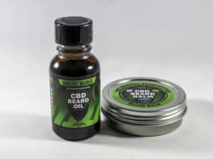 hemp bombs beard oil and balm side by side