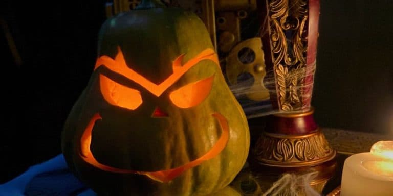 gourd carved to look like the grinch, whose heart structure was too small