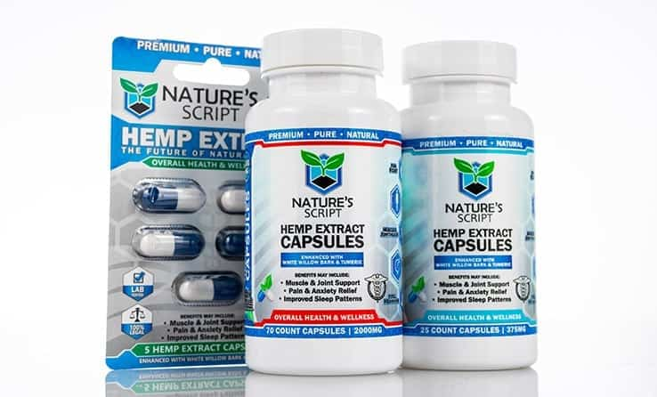 two bottles of Nature's Script CBD capsules