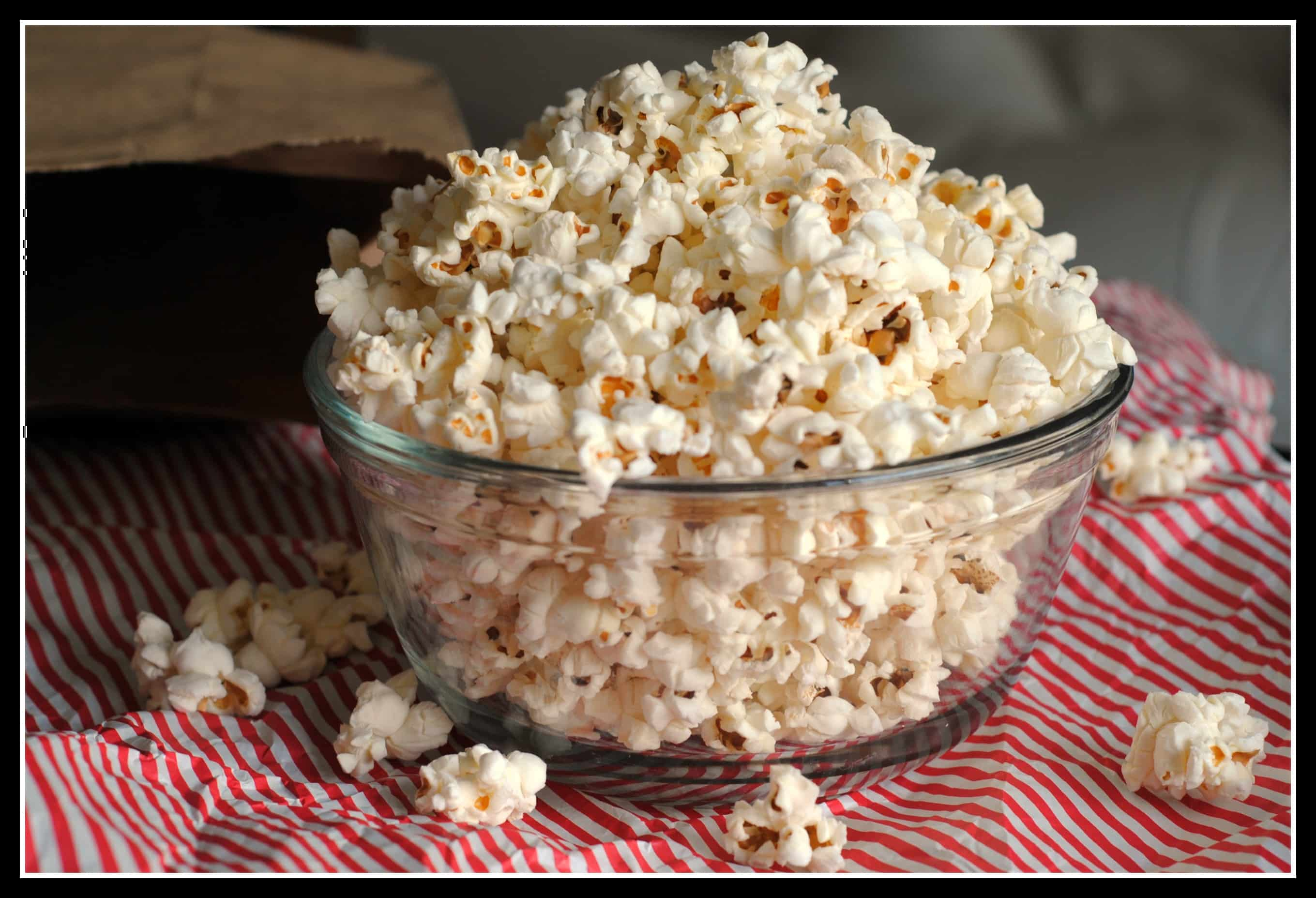 Bowl of popcorn on tablecloth