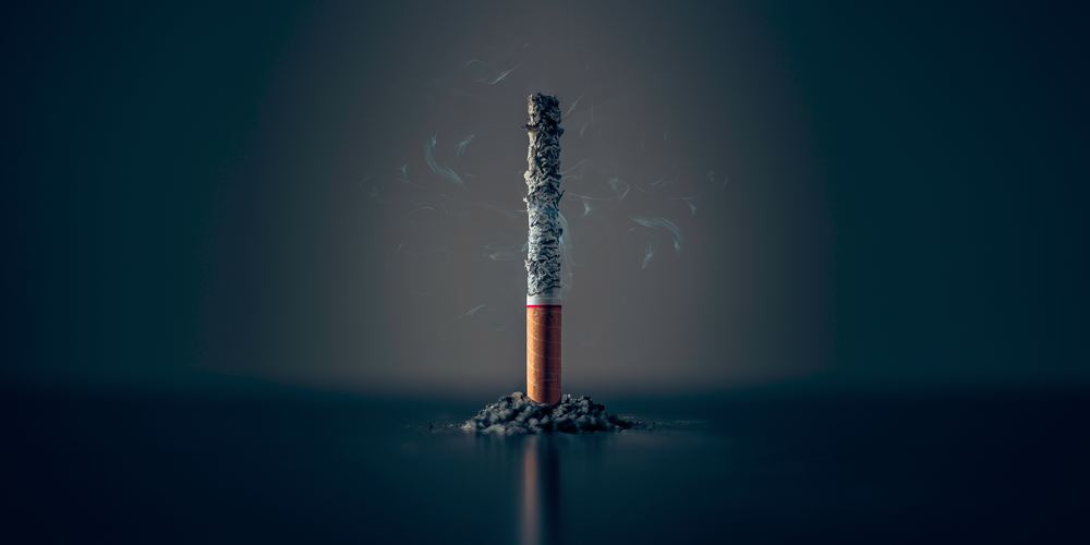 a cigarette standing vertically burning to ash
