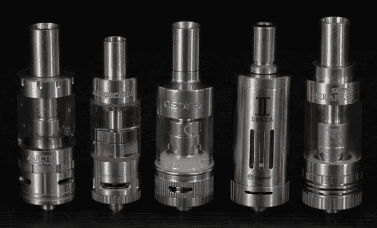 Vape tanks on black background