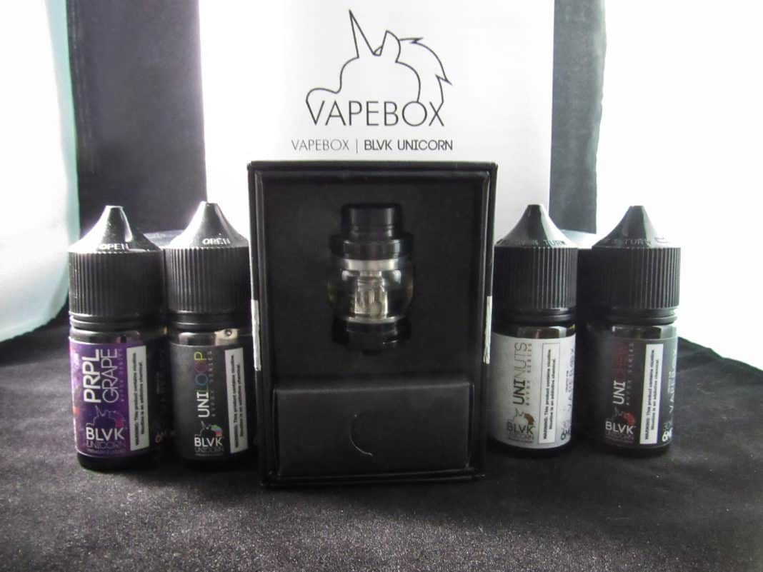Vape Box subscription box with e-juices in front