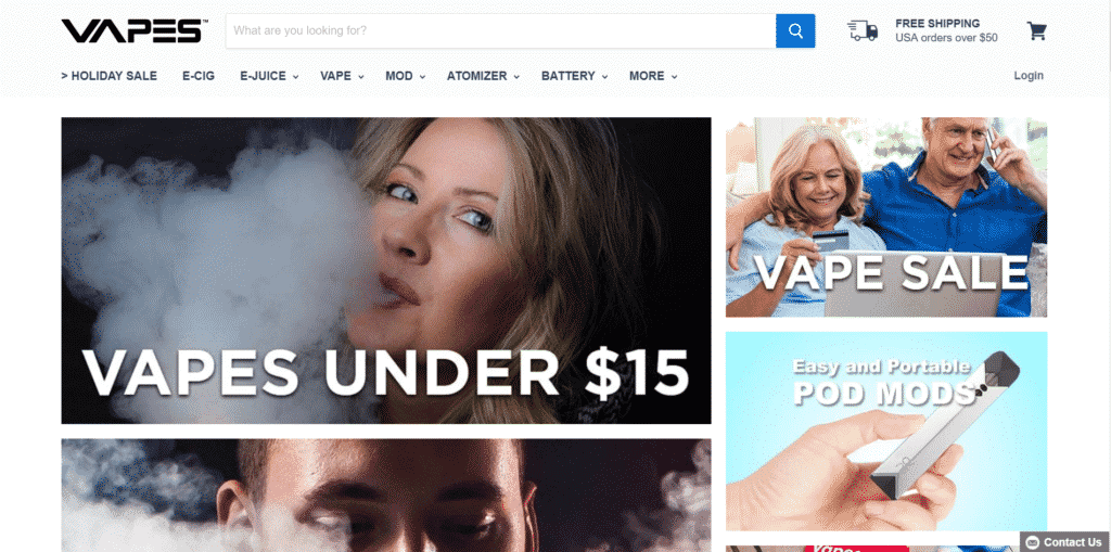 Vapes.com homepage