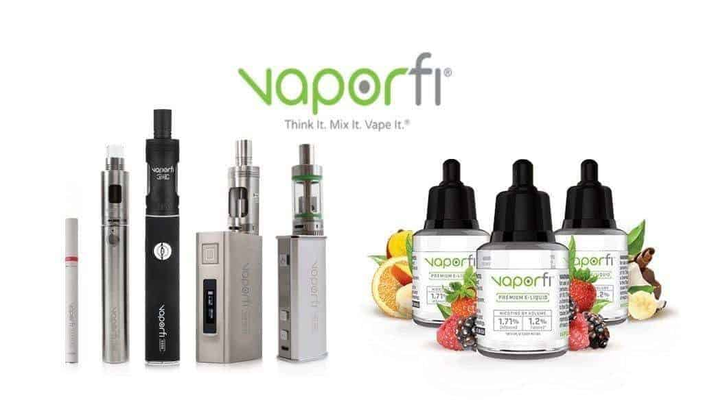 Vaporfi logo with products