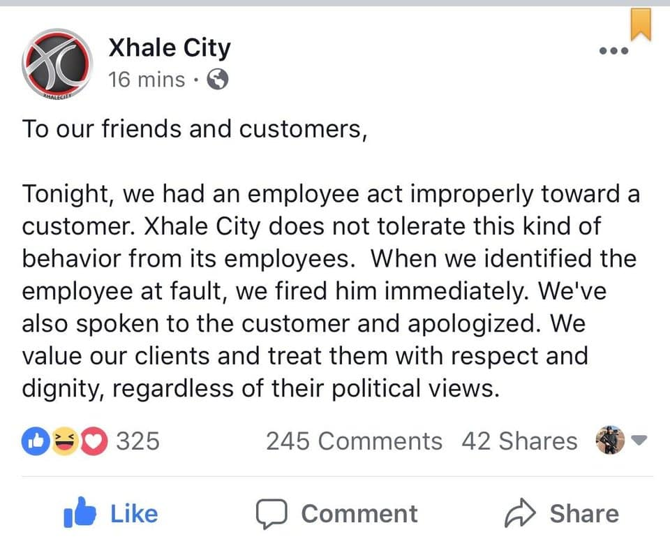 Xhale Vapor Twitter showing that anti-trump employee was fired